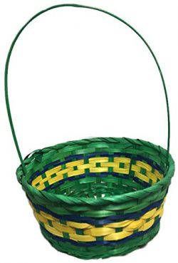 Colorful Woven Wicker Easter Baskets, 16″ (Green)