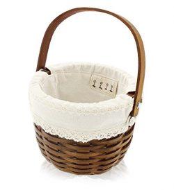 Easter Egg Basket – Wooden Holiday Gift Basket for Easter Decoration, Candy Storage, Easte ...