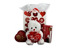 Deluxe Happy Valentines Day Bear, Gift Bag And Queen Anne Chocolate Cherries Bundle