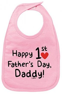 Funny Baby Clothes Fathers Day Gift Happy 1st Fathers Day Baby Bib Pink