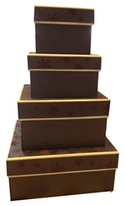 Nesting Gift Boxes with Lids – 4 Assorted Sizes for Candy Treat Tower (Chocolate Snowflake)