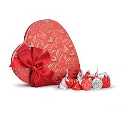 Valentine's Day Heart Shaped Gift Box with Hershey Kisses, Benevelo Gifts