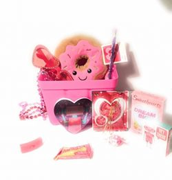 Happy Valentines Day Pink Donut Stuff Animal Gift Basket For Kids 12 Piece Set For That Someone  ...