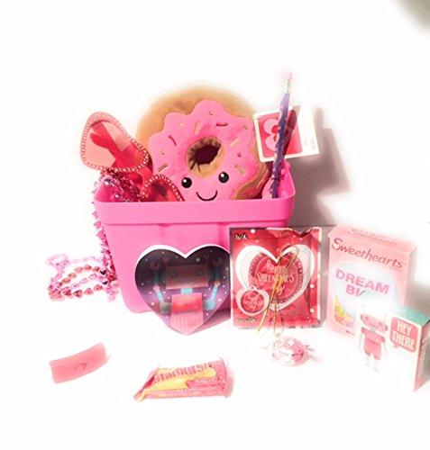 Happy Valentines Day Pink Donut Stuff Animal Gift Basket For Kids 12