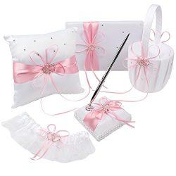 OurWarm Wedding Guest Book + Pen Set + Flower Girl Basket + Ring Bearer Pillow + Garter Decor Li ...