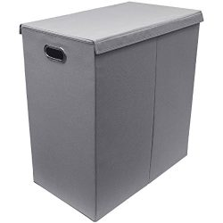 Sorbus Laundry Hamper Sorter with Lid Closure – Foldable Double Hamper, Detachable Lid and Divid ...