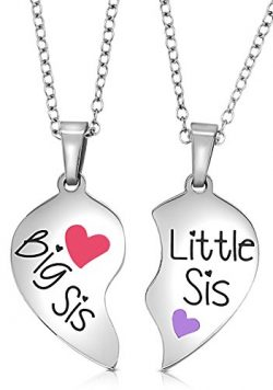 2 Piece Heart Halves Matching Big Sis Little Sis Sisters Necklace Jewelry Gift Set Best Friends  ...