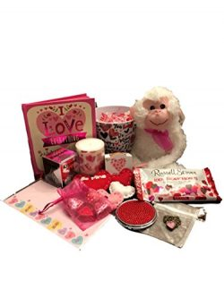 Valentines Day Gift Basket – Heart Necklace – Hugging Monkey – Bling Compact M ...