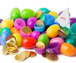 Chocolate Coin Filled Easter Eggs Set of 18 Plastic Surprise Shells with Golden Milk Chocolate C ...