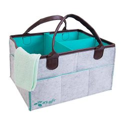 Diaper Caddy, Nursery Storage Bin with Changeable Compartments for Diapers, Bibs, Wipes & To ...