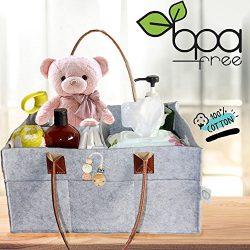 Baby Diaper Caddy and Nursery Organizer by SQOLL – Organic XLarge Felt Bag – For Bab ...