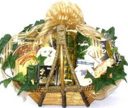 Gourmet Delicacies Gift Basket | Caviar, Cheese Spreads, Crackers, Premium Nuts and More