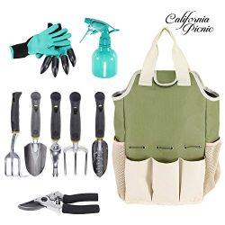Garden Tools Set | Garden Tool Organizer Gardening Tote | 9 Piece Garden Tool Organizer | Diggin ...