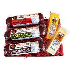 Gourmet Variety Sampler Gift Basket – Smoked Summer Sausages & 100% Wisconsin Cheeses  ...