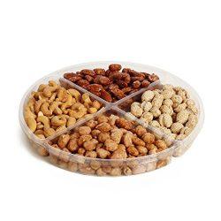 The Chocolate Bar Freshly Glazed Holiday Nuts Gift Basket, Kosher Nut Gift Tray 4-section Medium ...