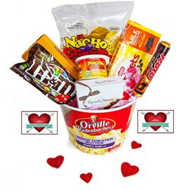 Happy Valentine's Day Movie Night Gift Basket ~ Includes Nachos and Cheese, Popcorn, Candy ...