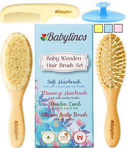 4 Piece Baby Hair Brush Set with Baby Brush, Cradle Cap Brush or Scalp Brush, Natural Bristle Br ...