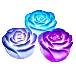 Kanzd 3pcs Rose LED colorful Lights Home Family Decoration For Kids and Couple Valentines Day Gi ...