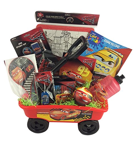 Christmas Gift Baskets For Kids.Deluxe Cars Lightning Mcqueen Christmas Gift Baskets Wagon