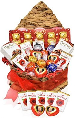 LINDT Valentine Day Chocolate Variety Basket in Heart Shaped Pack