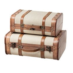 SLPR Decorative Suitcase with Straps (Set of 2, Beige) | Old-Fashioned Antique Vintage Style Nes ...