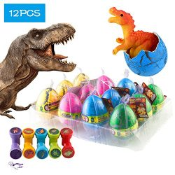 12 Pcs Dinosaur Eggs with Bonus10 Pcs Dinosaur Stamps, Kictero Crack Easter Dinosaur Eggs that H ...
