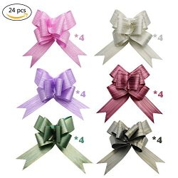 24Pcs Large Gift Pull Bows- 7″ Wide,6 Colors Pull Bows for Holiday Decoration, Christmas G ...