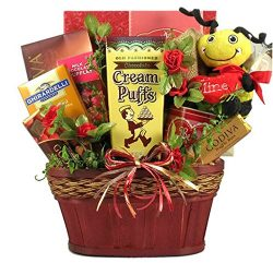 Bee Mine Valentines Day Chocolate and Coffee Lovers Gift Basket for Men or Women