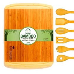 Extra Large Bamboo Cutting Board Set | The Perfect Gift. Kitchen Chopping Board and Serving Tray ...