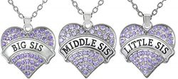 Set of 3 Big Sis, Middle Sis, Little Sis Purple Crystal Heart Matching Necklace Jewelry Gift Set ...