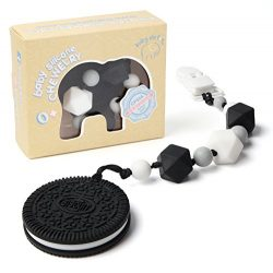 Teething Pain Relief Silicone Cookie and Pacifier Clip Holder for Trendy Boy or Girl, Black and  ...