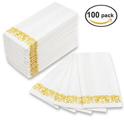 MOCKO Disposable Hand Napkins 17×12″ 100 Pack | Soft & Absorbent Towels With Gold ...