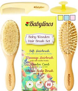 4 Piece Baby Hair Brush Set with Baby Brush, Cradle Cap Brush or Scalp Brush, Natural Bristle Br ...