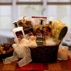 Gift for Her Caramel & Vanilla Creame Bath and Body Spa Gift Basket