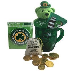 St Patricks Day Gift Set with Green Mug, Leprechaun Bear, Jumbo Pin, Gold Chocolate Candy Coins, ...