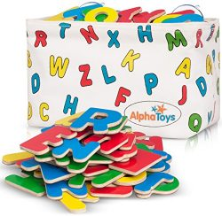 Premium ABC Refrigerator Magnets + Hanging Storage Basket – 83 Brightly Colored Wooden Mag ...