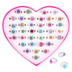Colorful Assorted Gem Star Rhinestone Adjustable Rings with Heart Shape Display Case for Party F ...