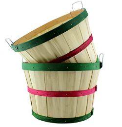 Round Wooden Half Bushel Baskets (2-Pack); Large Wood Farm Market Baskets for Decorating, Garden ...