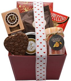 Red Leather Valentine's Day Basket | Curated Romantic Treats