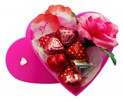 Valentines Day Heart Gift Box with Chocolate and a Rose for Her (Hot Pink, SM)