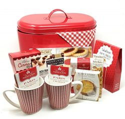 Valentine Gift Basket for Her or Him | Fresh Baked Deluxe (Red) | Metal Tin Coffee, Tea, Cookies ...
