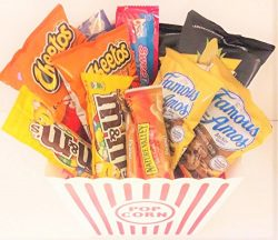 Movie Night Snack Gift Basket with Cheddar Cheese Smartfoods Popcorn, M&Ms, Cheetos, Nature& ...