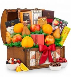 GiftTree Fresh Fruit and Gourmet Delight Gift Basket – Gourmet Chocolate from Godiva and P ...