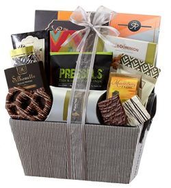 Sweet and Savory Gift Basket with Chocolates, Seasoned Nuts, Brittle, Pastries, Assorted Sweets  ...
