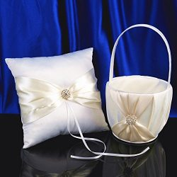 Topwedding White Satin Wedding Flower Girl Basket and Ring Pillow Set with Rhinestones