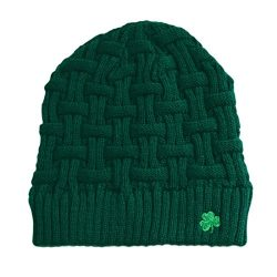 Man Of Aran Acrylic Basket Weave Beanie Hat Olive Green Colour With Green Shamrock
