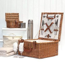 Luxury Quality Harpenden 2 Person Wicker Picnic Basket Set with Accessories – Gift ideas f ...