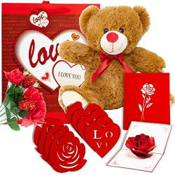 Valentine Day Gift Basket | 12 Inch Teddy Bear Plush, 3D Popup Card, Artificial Rose Flower Bouq ...