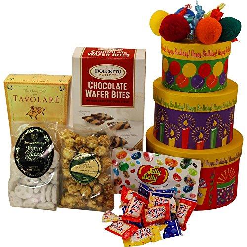 Happy Birthday Gift Tower By Gourmetgiftbaskets Com: Happy Birthday To You! Snacks And Treats Gift Tower