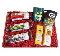 Green Bay Packer Fan Gift Basket – features Smoked Summer Sausages, 100% Wisconsin Cheeses ...